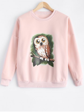 Outfit Owl Print Loose-Fitting Sweatshirt