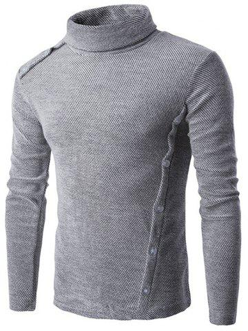 Cheap Button Design Long Sleeve Turtleneck Sweater GRAY 2XL