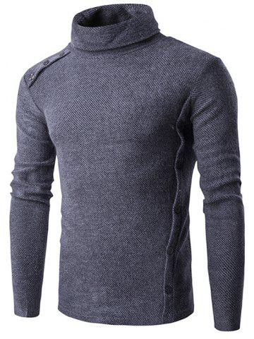 Button Design Long Sleeve Turtleneck Sweater - Blue Gray - M
