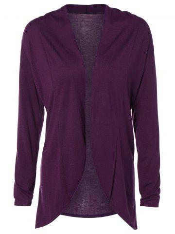 Buy Slimming Collarless Coat RED VIOLET XL