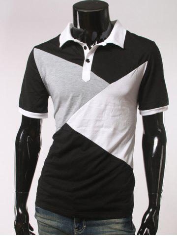 Fashion Color Splicing Short Sleeve Polo T-Shirt BLACK 2XL