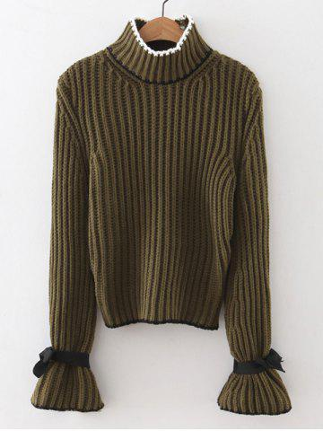 Mock Neck Flare Sleeve Knitted Sweater - Army Green - One Size