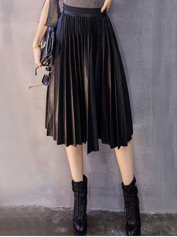 Midi Pleated PU Leather Skirt - Black - M