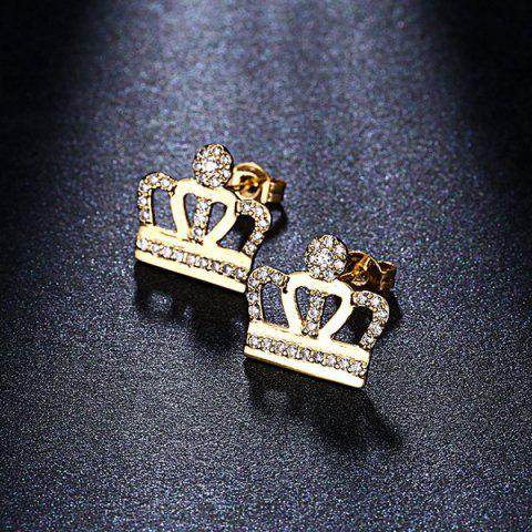 Fancy Openwork Micro Rhinestone Crown Earrings