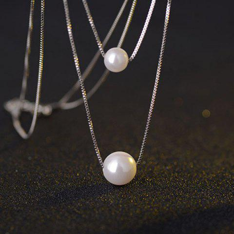 Shop Double Size Simple Faux Pearl Necklace PEARL WHITE