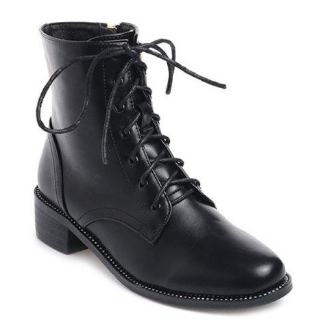 Fancy Lace-Up Square Toe PU Leather Combat Boots BLACK 38