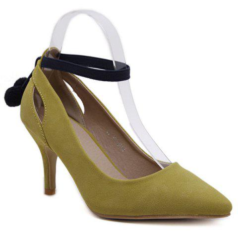Chic Ankle Strap Pompon Suede Pumps BLUISH YELLOW 39