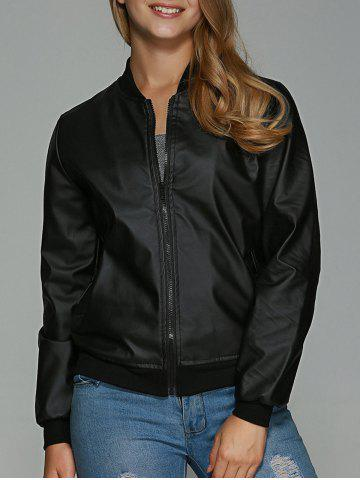 Fashion Faux Leather Zipper Design Bomber Jacket