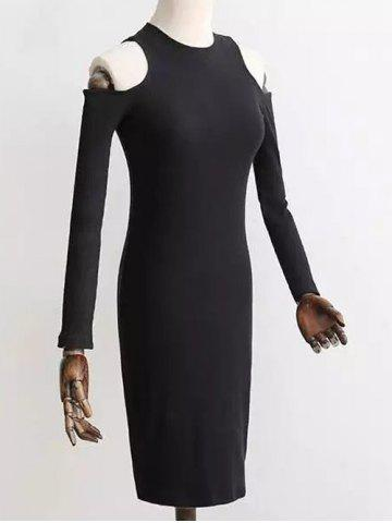 Latest Cold Shoulder Knitted Ribbed Dress