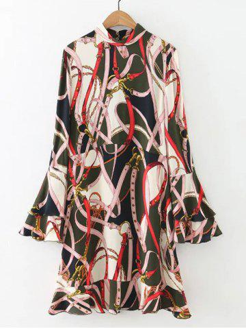 Affordable Belt Print Dress with Flare Sleeve COLORMIX L
