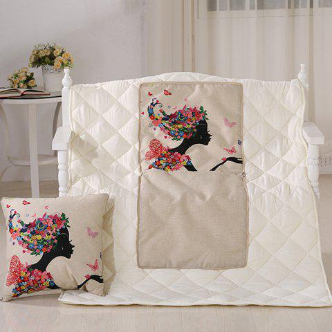Chic Comfortable Lady Printed Sofa Cushion Noon Break Quilt