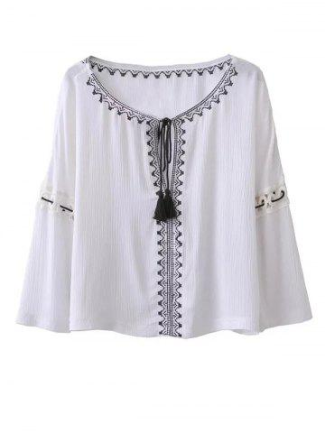 Best Ethnic Bohemia Embroidery Tassel Lace-Up Blouse