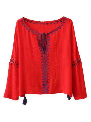 New Ethnic Bohemia Embroidery Tassel Lace-Up Blouse
