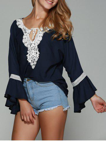 Shop Lace Trim Chiffon Flare Sleeve Blouse PURPLISH BLUE XL