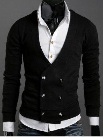 Buy Long Sleeves Double-Breasted Cardigan BLACK XL