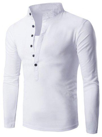 Outfits Half Single-Breasted Stand Collar Long Sleeve T-Shirt