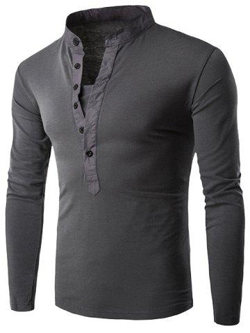 Store Half Single-Breasted Stand Collar Long Sleeve T-Shirt
