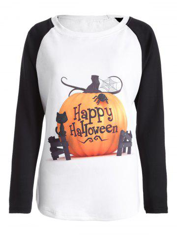 Affordable Raglan Sleeve Happy Halloween T Shirt WHITE 4XL