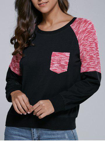 New Single Pocket Heathered Raglan Sleeve Sweatshirt
