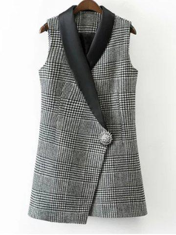 One Button Houndstooth Waistcoat - White And Black - S