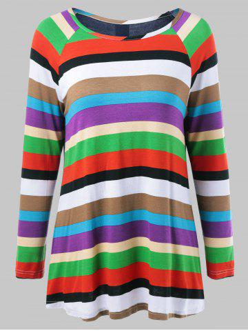 Fancy Colorful Striped Back Button T-Shirt