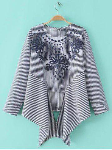Online Embroidery Embellished Asymmetrical Striped Blouse