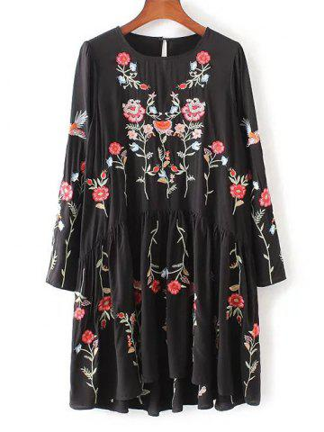Chic Floral Embroidered Smock Dress BLACK L