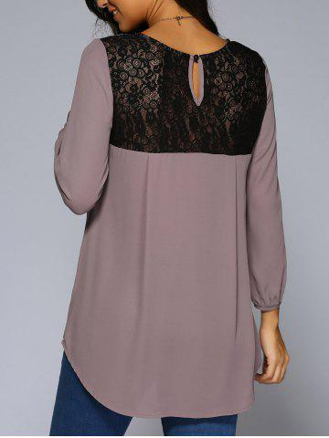 Affordable Lace Patchwork High Low Hem Chiffon Blouse - PALE PINKISH GREY L Mobile