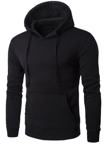 Trendy Kangaroo Pocket Drawstring Plain Hoodie - BLACK XL Mobile