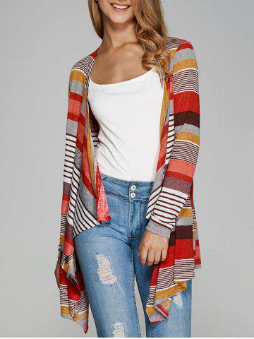 Affordable Colorful Striped Asymmetrical Cardigan