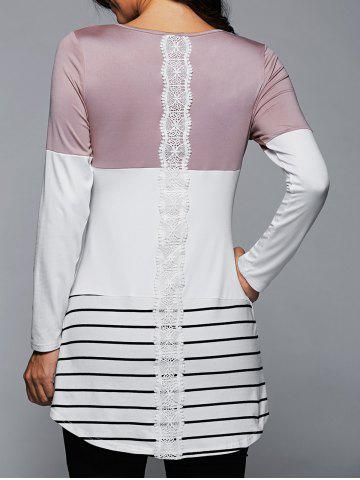 Trendy Long Striped Lace Panel Long Sleeve T-Shirt