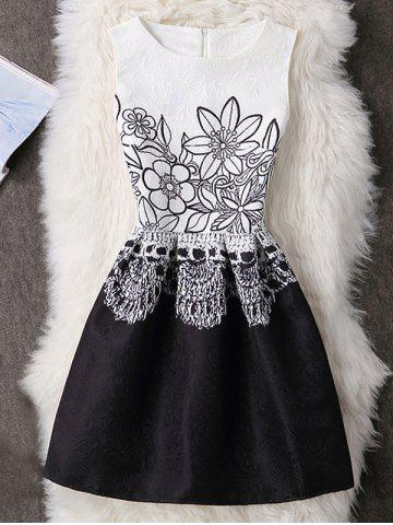 Outfits Floral Sleeveless A-Line Party Short Skater Dress WHITE S