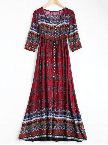 Cheap Bohemian Print Long Swing Dress with Sleeves WINE RED 2XL