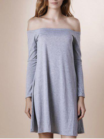 Sale Off The Shoulder Long Sleeve Plain Dress GRAY XL