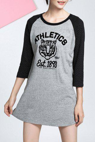 Online Baseball Boyfriend T-Shirt Dress - S GRAY Mobile