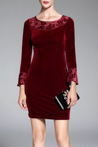 Chic Long Sleeve Velvet Short Pencil Mini Dress WINE RED M