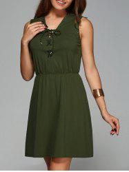 Stylish V-Neck Sleeveless Solid Color Dress