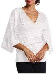 Ruched Fitted Bell Sleeve Blouse -