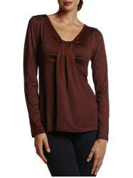 Ruched Long Sleeve Blouse - COFFEE XL