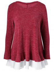 Back Button Falbala Knitted Blouse -