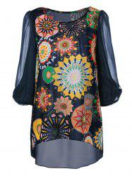 Colorful Print High Low Blouse -