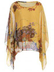 Loose-Fitting Floral Print Asymmetrical Blouse -