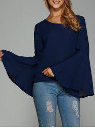 Bell Sleeve Backless Blouse -