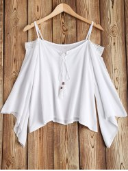Loose Fit Lace Splicing Cold Shoulder Top -