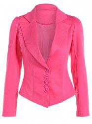 Asymmetric Lapel Single Breasted Blazer - DEEP PINK