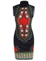 Stand Neck Printed Knee Length Dress - BLACK L