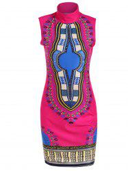 Stand Neck Printed Knee Length Dress - ROSE MADDER XL