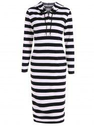 Hooded Striped Midi Dress -