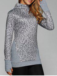 Cowl Neck Leopard Print Tee with Gloves