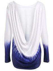 Long Sleeve Drap Back Ombre T Shirt -